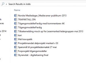 Her er alle word-dokumentene jeg har lagret på jobb-pc'n min. Ved å se på dokumentnavnet, er det bare to av dem jeg skjønner hva handler om.