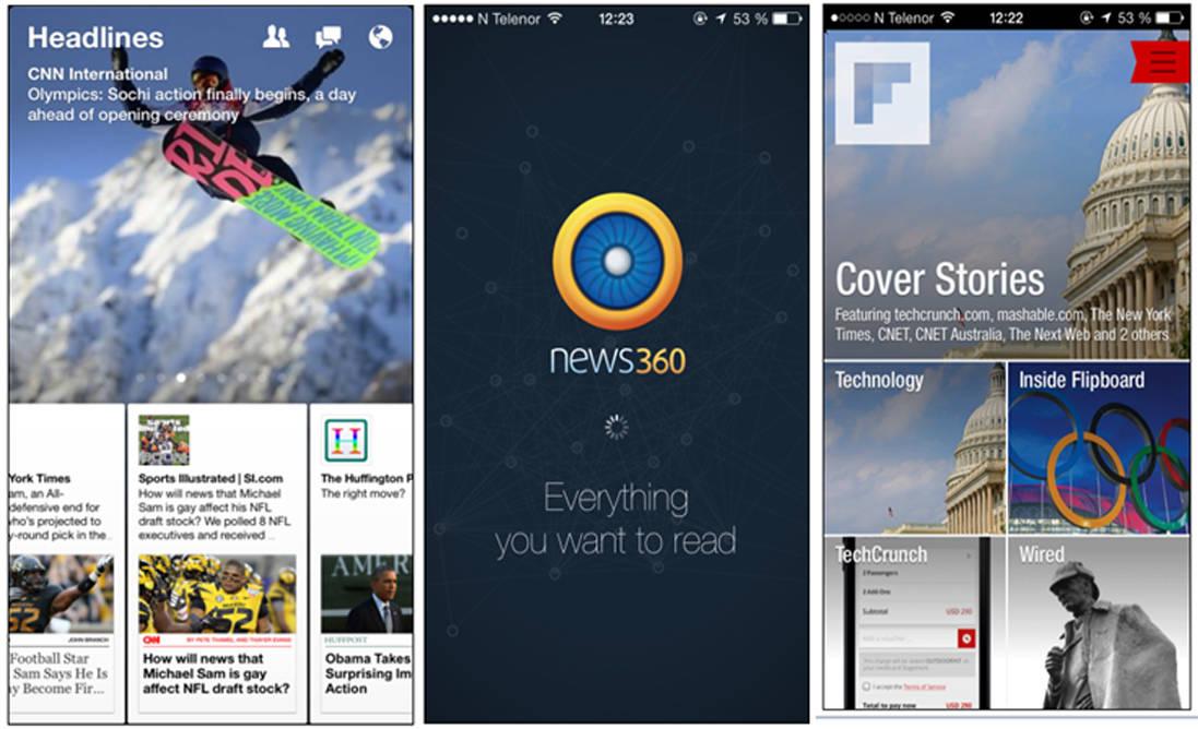 Eksempler på nye portvoktere: Facebooks Paper, tjenesten News360 og Flipboard.