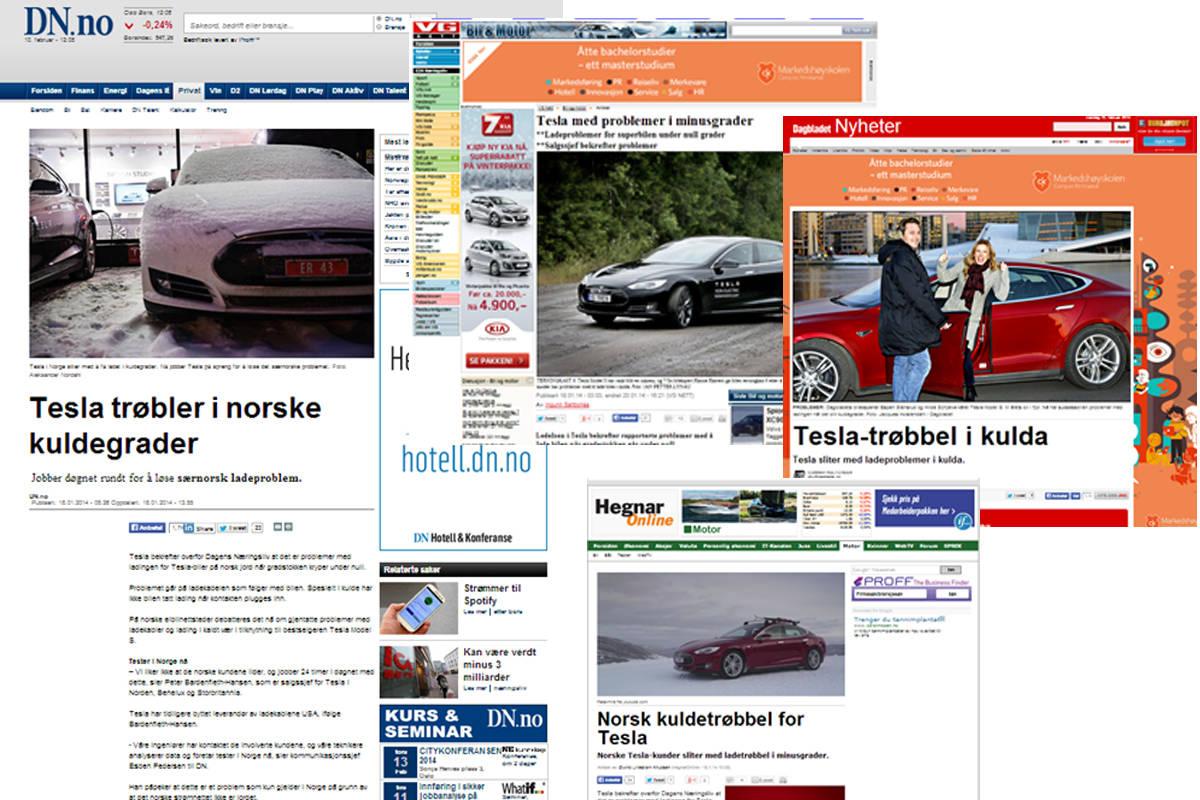 Når DN.no skriver om at Tesla har trøbbel med den norske vinteren, tar det ikke lang tid før konkurrentene har publisert nær identiske saker.